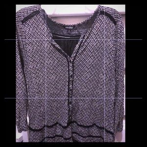 Lucky Brand LS Blouse Black/Off White Size (M)